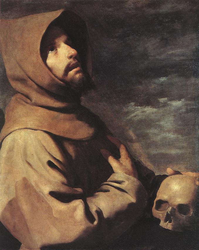 'Экстаз Святого Франциска', масло по Francisco Zurbaran (1598-1664, Spain)