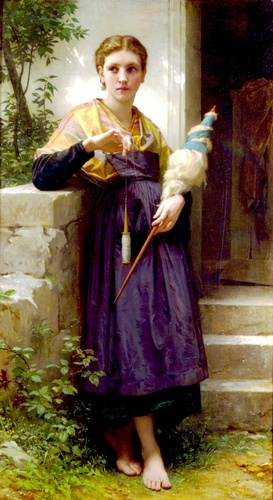 Fileuse, масло по William Adolphe Bouguereau (1825-1905, France)
