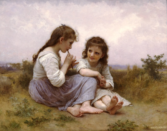 Idylle ребенок, масло по William Adolphe Bouguereau (1825-1905, France)
