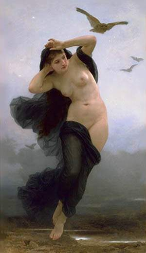 в ночной, Масло по William Adolphe Bouguereau (1825-1905, France)