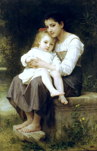 Ла Soeur ainee, масло по William Adolphe Bouguereau (1825-1905, France)