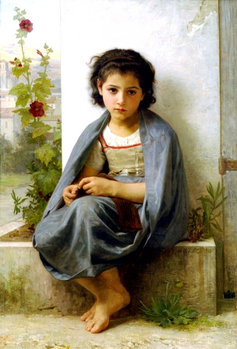 Ла tricoteuse, масло по William Adolphe Bouguereau (1825-1905, France)