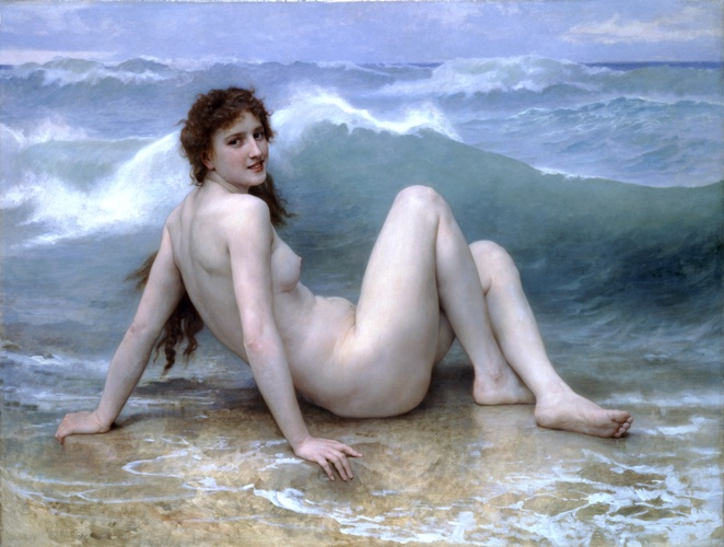 Волна, масло по William Adolphe Bouguereau (1825-1905, France)