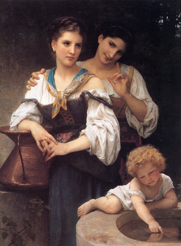 Секрет, масло по William Adolphe Bouguereau (1825-1905, France)