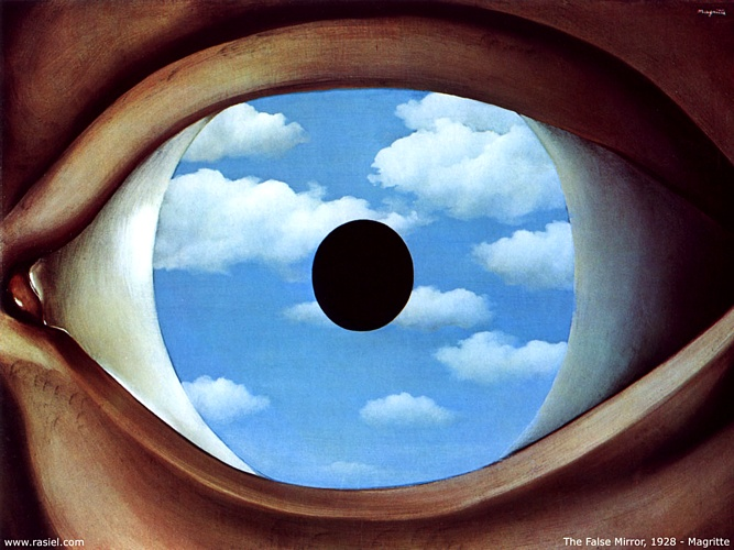 Кривое зеркало, масло по Rene Magritte (1898-1967, Belgium)