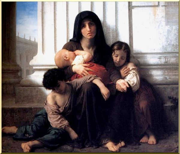 Малоимущим Семья (Благотворительность) по William Adolphe Bouguereau (1825-1905, France)
