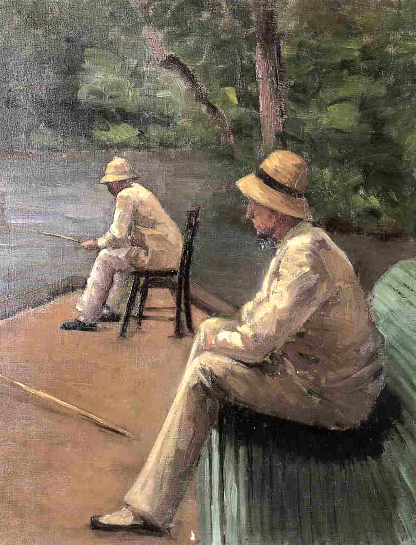 Рыбаки на берегу Yerres, холст, масло по Gustave Caillebotte (1848-1894, France)