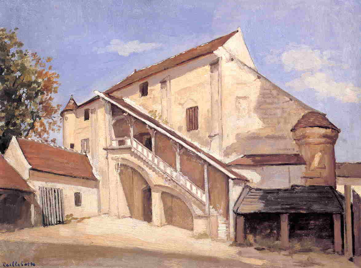 Meaux . влияние солнечного света на старый chapterhouse, Масло по Gustave Caillebotte (1848-1894, France)
