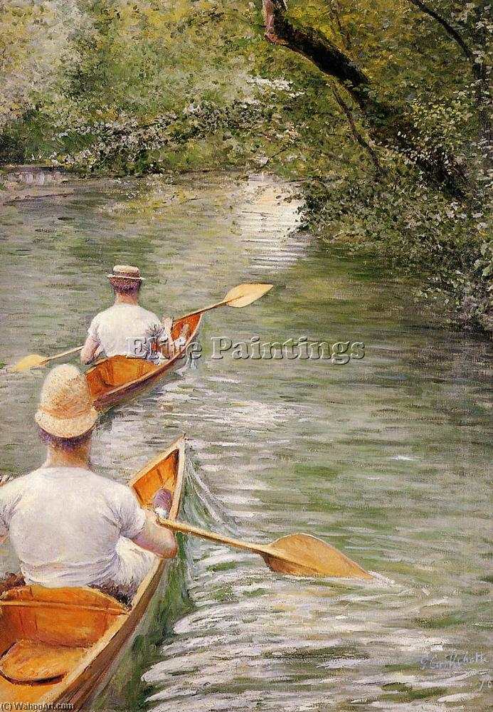 Perissoires ака каноэ, Масло по Gustave Caillebotte (1848-1894, France)