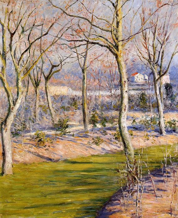 Сад в Пти Gennevilliers зимой, холст, масло по Gustave Caillebotte (1848-1894, France)