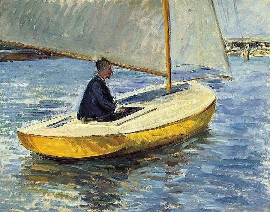 желтый лодку , холст, масло по Gustave Caillebotte (1848-1894, France)