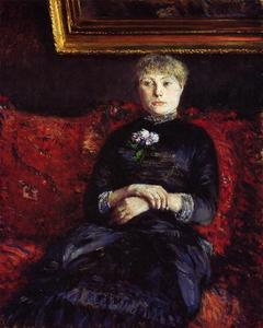 Gustave Caillebotte - женщина сидит на Red-Flowered Диван 02