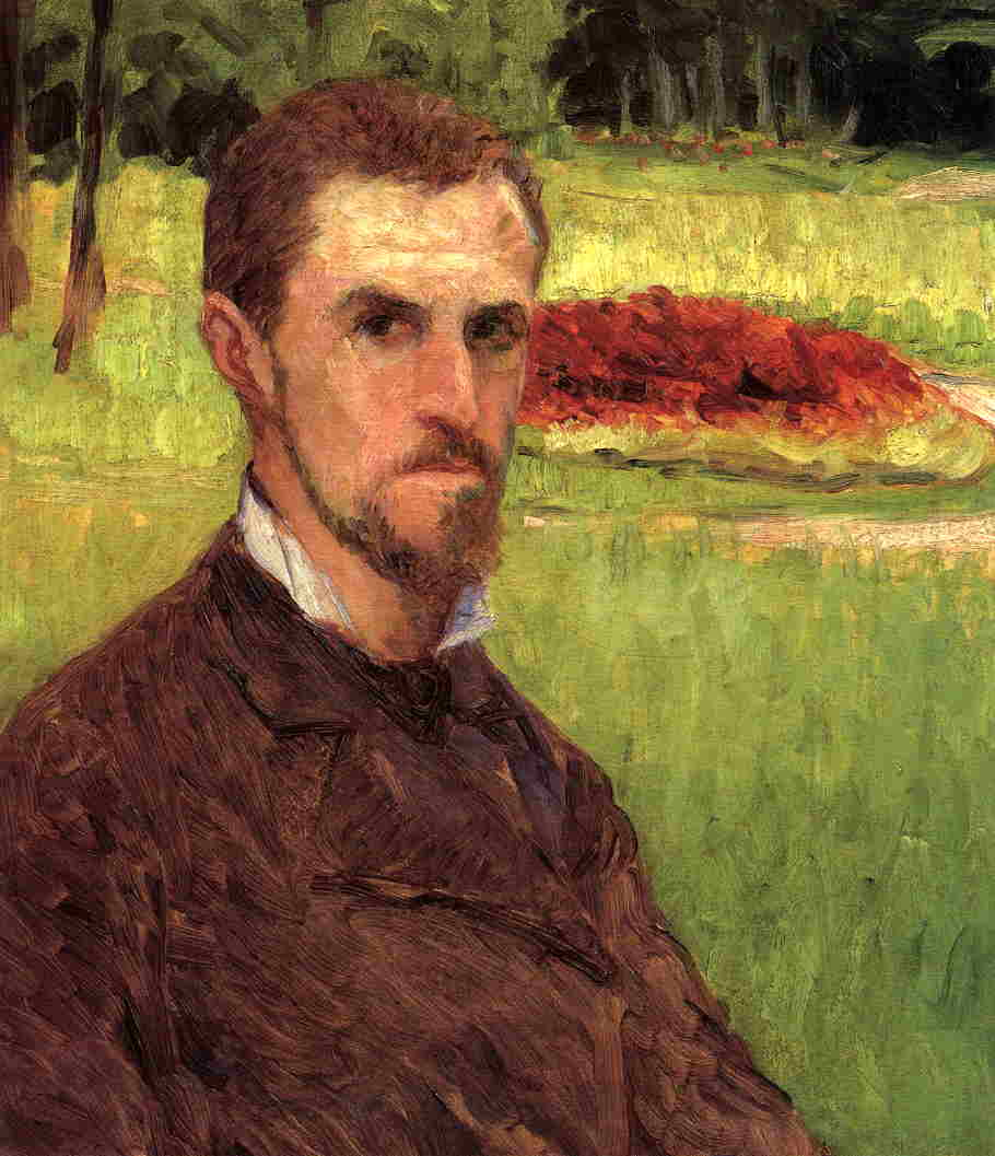 Self-Portrait в парке в йерре, холст, масло по Gustave Caillebotte (1848-1894, France)