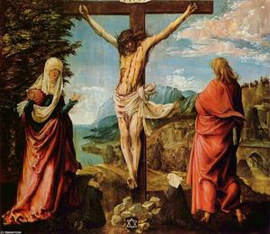 Albrecht Altdorfer - Crucifixion scene ,  Christ on крест with Mary и джон