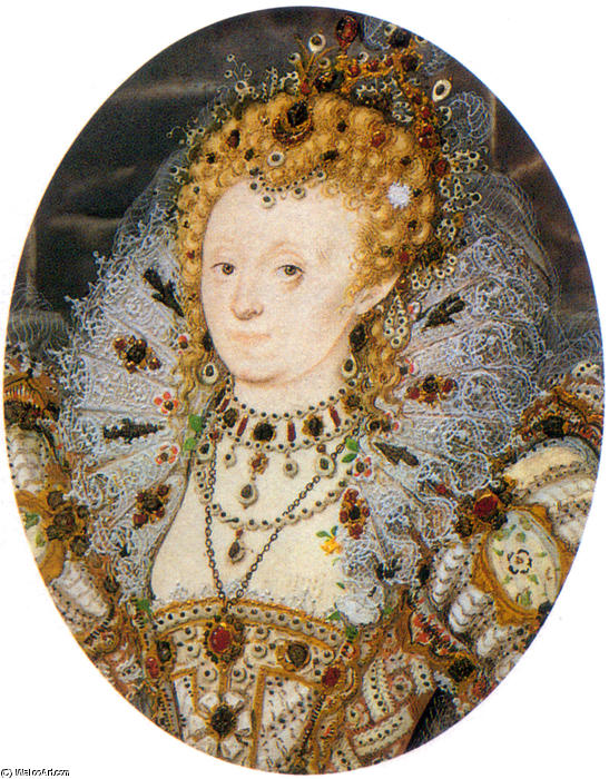 Элизабет IV3 по Nicholas Hilliard (1577-1619, United Kingdom) | Картина Копия | WahooArt.com