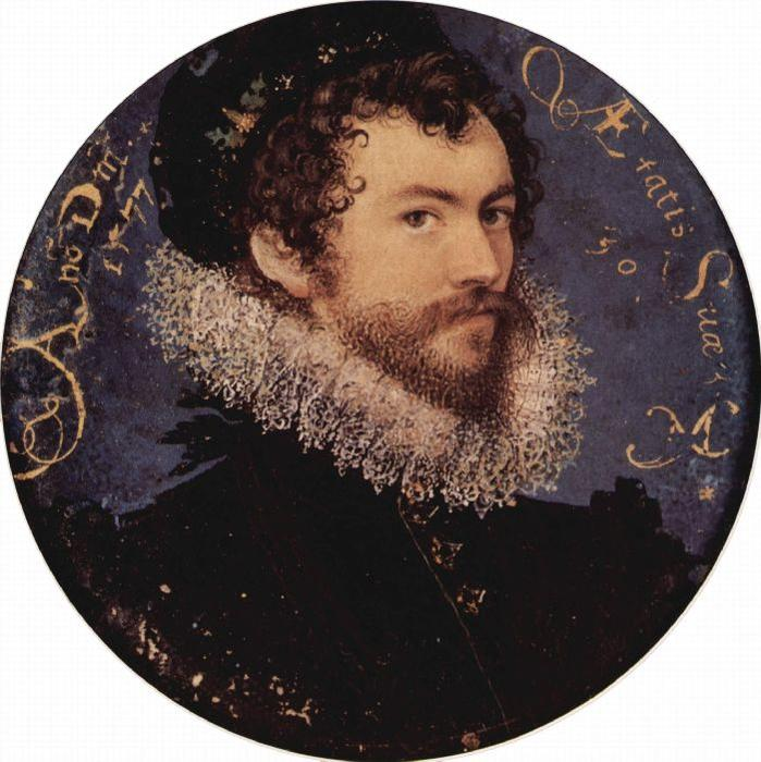 самостоятельно-portrait, масло по Nicholas Hilliard (1577-1619, United Kingdom)