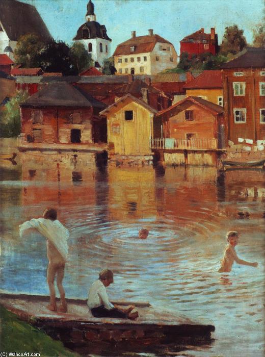 Купаются в реке рисунок