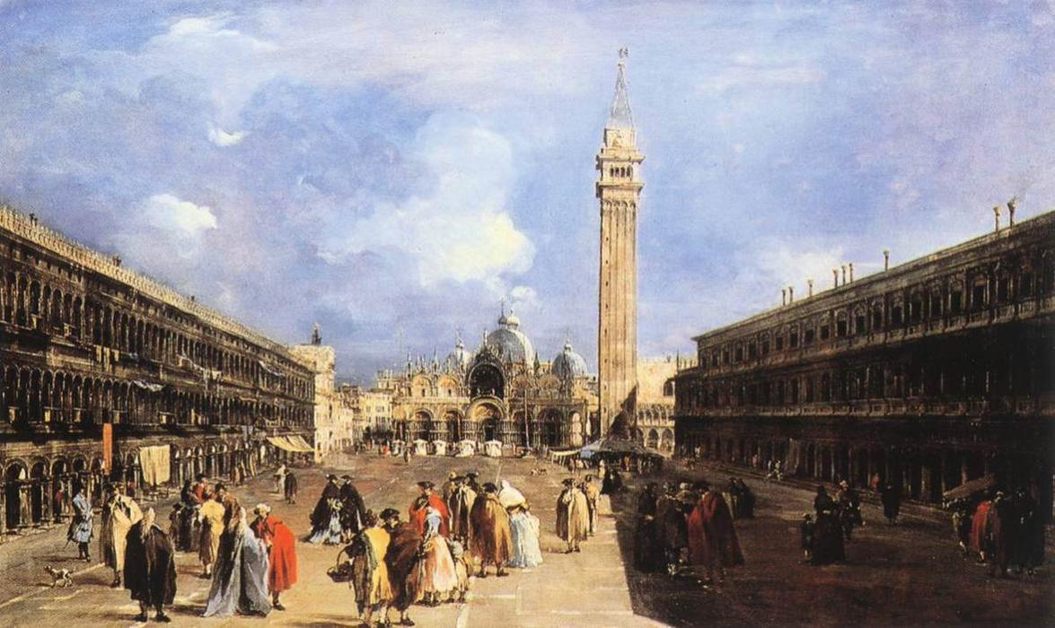 В Piazza San Marco в базилика, масло по Francesco Lazzaro Guardi (1712-1793, Italy)