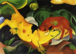 Franz Marc - Коровы , Yellow-Red-Green