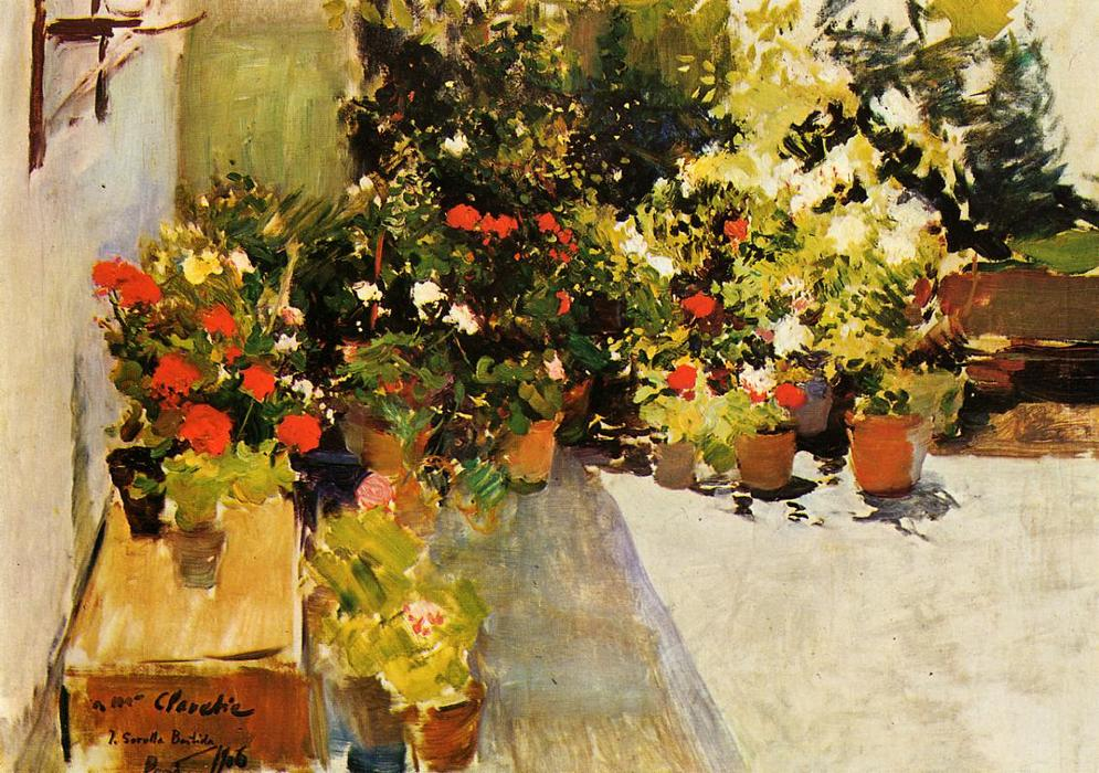A Крыша with Цветы, холст, масло по Joaquin Sorolla Y Bastida (1863-1923, Spain)