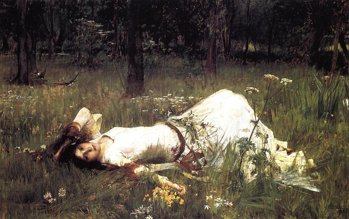 Офелия 1  , 1889 по John William Waterhouse (1849-1917, Italy) | Репродукции Музея | WahooArt.com
