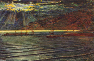 William Holman Hunt - Fishingboats по Moonlight