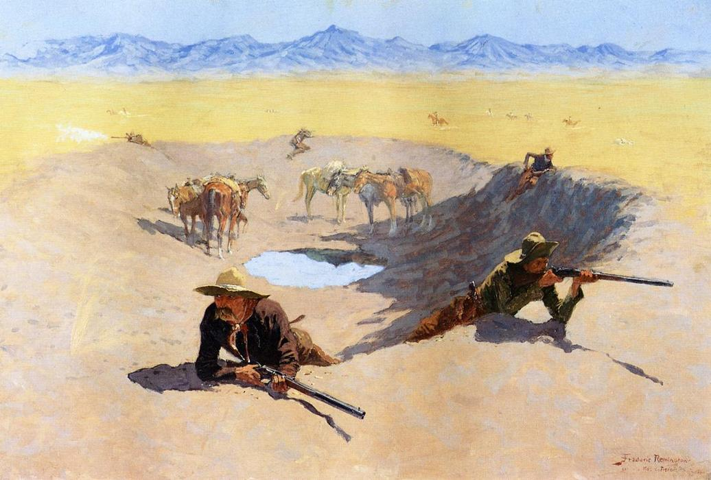 Борьба за вода Дыра, холст, масло по Frederic Remington (1861-1909, United States)