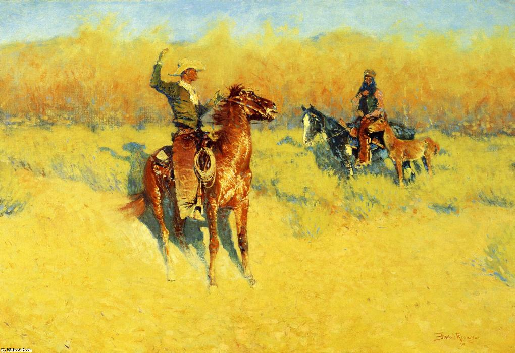 долго-рог `cattle` знак, холст, масло по Frederic Remington (1861-1909, United States)
