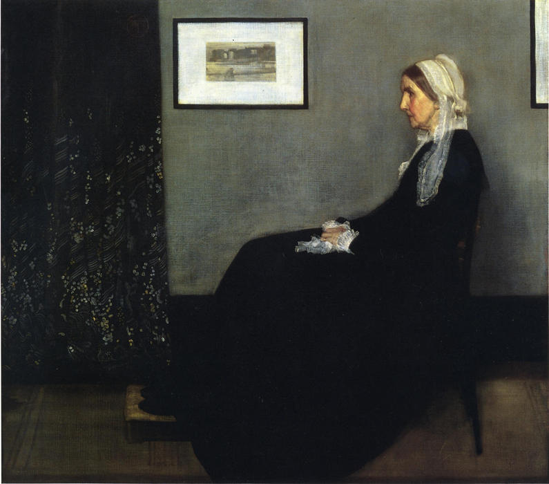 композиция в сером и черном . Портрет тем Painter's Мать, масло по James Abbott Mcneill Whistler (1834-1903, United States)