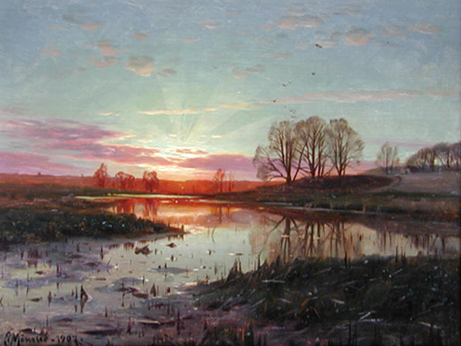 Вечер в Naesbyholm, масло по Peder Mork Monsted (1859-1941, Denmark)