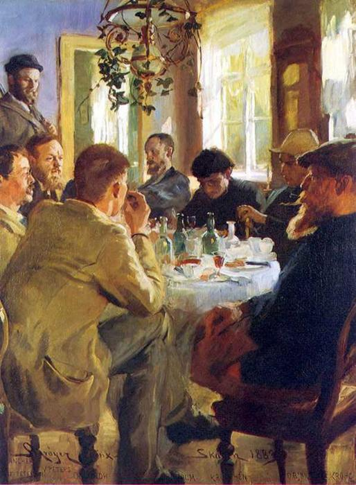 Almuerzo кон Pintores де Skagen по Peder Severin Kroyer (1851-1909, Norway) | Репродукции Музея | WahooArt.com
