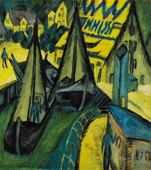 hafen burgstaaken , Фемарн по Ernst Ludwig Kirchner (1880-1938, Germany) | WahooArt.com