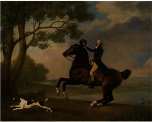 George Stubbs - портрет барона де робекк езда bay hunter