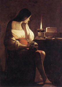 Georges De La Tour - Magdalen of в ночной свет