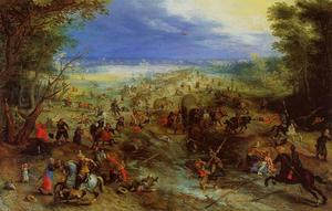 Jan Brueghel The Elder - Конный Battle около Мельница