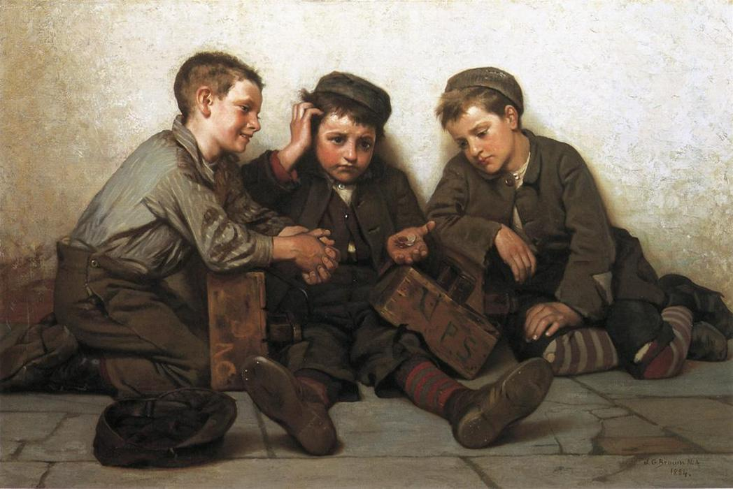 Подойдя Краткое, 1884 по John George Brown (1831-1913, United Kingdom) | WahooArt.com