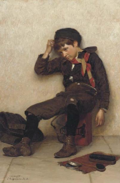 Низкая день по John George Brown (1831-1913, United Kingdom)
