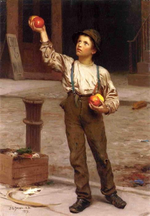 Молодой Apple, Продавец, 1878 по John George Brown (1831-1913, United Kingdom) | WahooArt.com