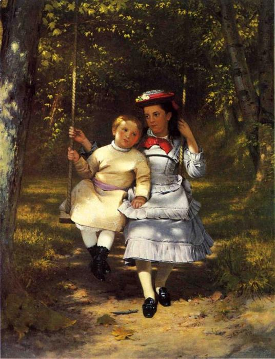 Две Girls on a Качели, холст, масло по John George Brown (1831-1913, United Kingdom)
