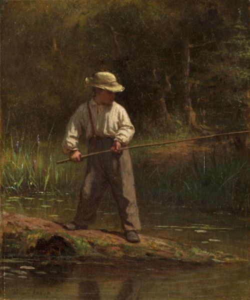 мальчик Рыбалка  по Jonathan Eastman Johnson (1824-1906, United Kingdom)