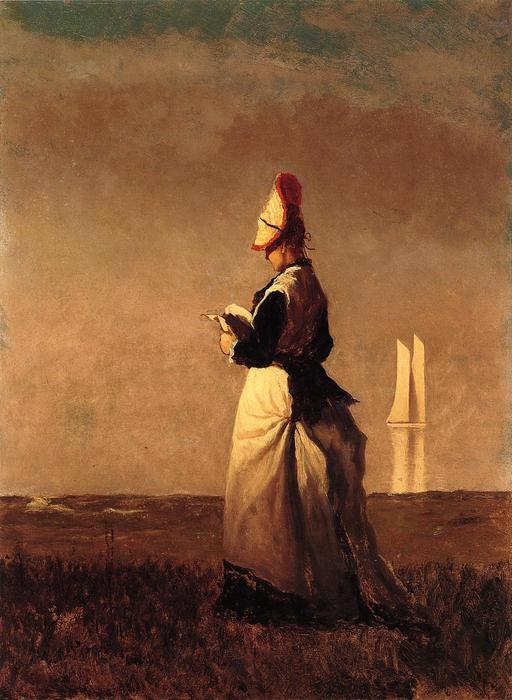 Женщина чтения по Jonathan Eastman Johnson (1824-1906, United Kingdom)