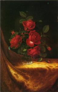 Martin Johnson Heade - четыре РОЗЫ  в     Стакан