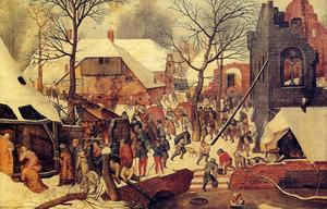 Pieter Bruegel The Younger - Поклонение волхвов в  тем  снежных