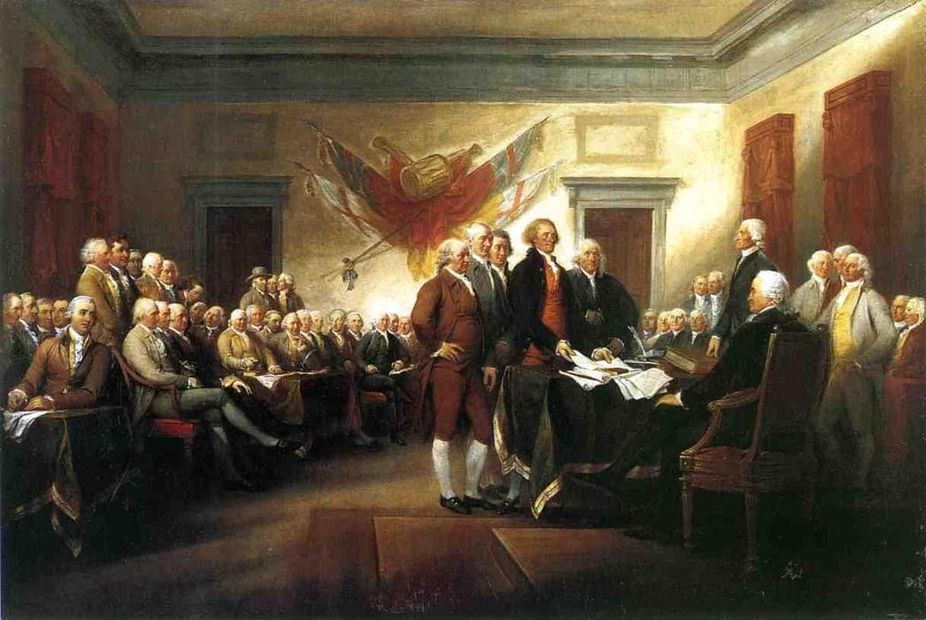декларация of Independence, холст, масло по John Trumbull (1756-1843, United States)
