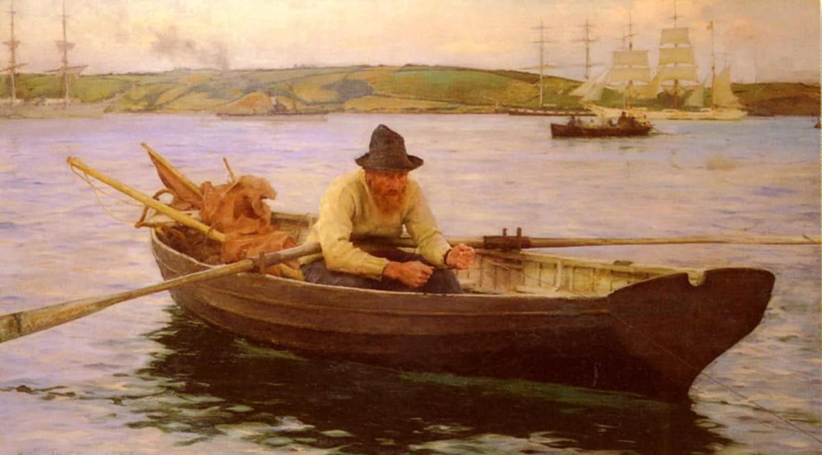 рыбаки тянут лодку на берегу