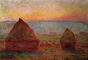 Claude Monet - Grainstacks в живерни , Sunset