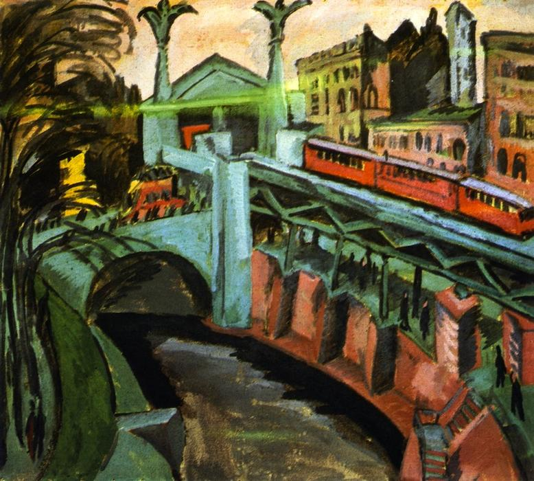 hallesches tor , Берлин, 1913 по Ernst Ludwig Kirchner (1880-1938, Germany)