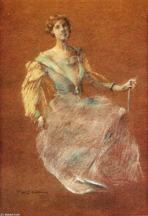 Дама в голубом, 1910 по Thomas Wilmer Dewing (1851-1938, United States) | Репродукции Музея | WahooArt.com