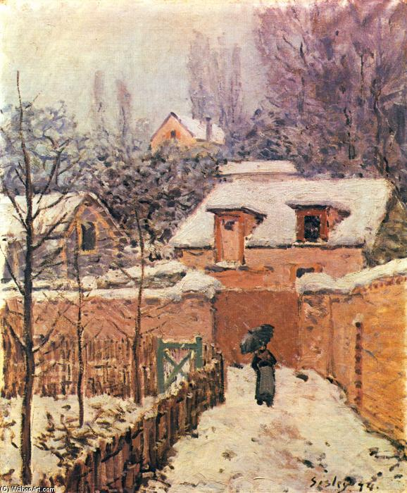 Garden in Louveciennes in the Snow, холст, масло по Alfred Sisley (1839-1899, France)