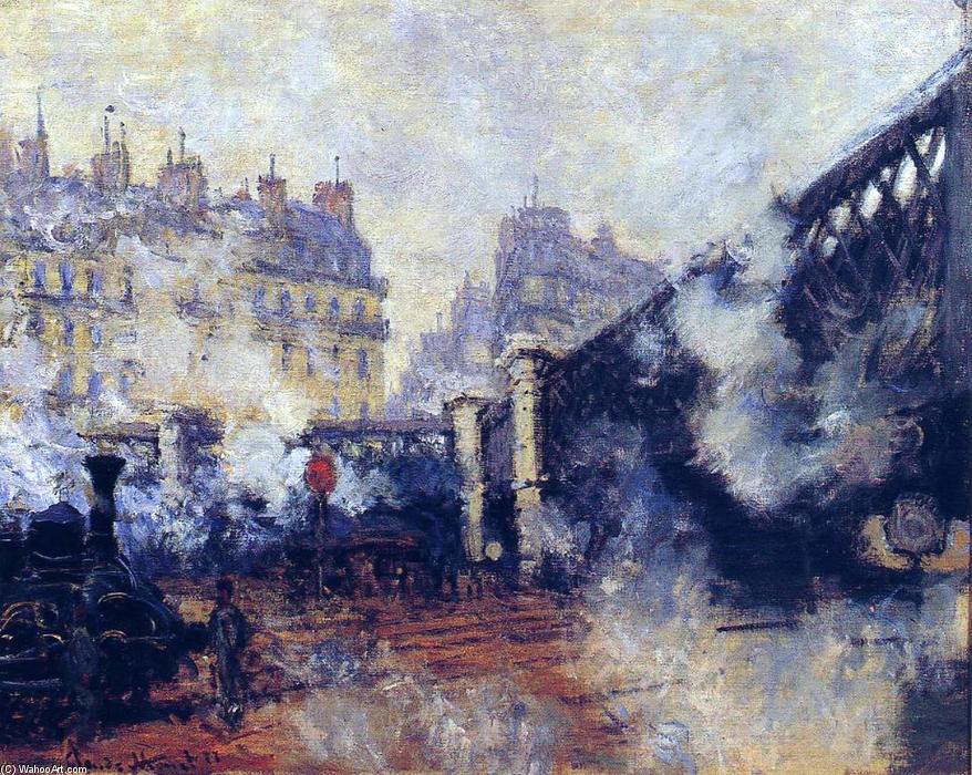 pont де l'Europe , Гар Saint-Lazare, холст, масло по Claude Monet (1840-1926, France)